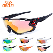 Obaolay 5 Lens TR90 Outdoor Sport Cycling Sunglasses Men Women Jaw Bike Bicycle Breaker Anti-UV400 HD Cycling Eyewear Glasses