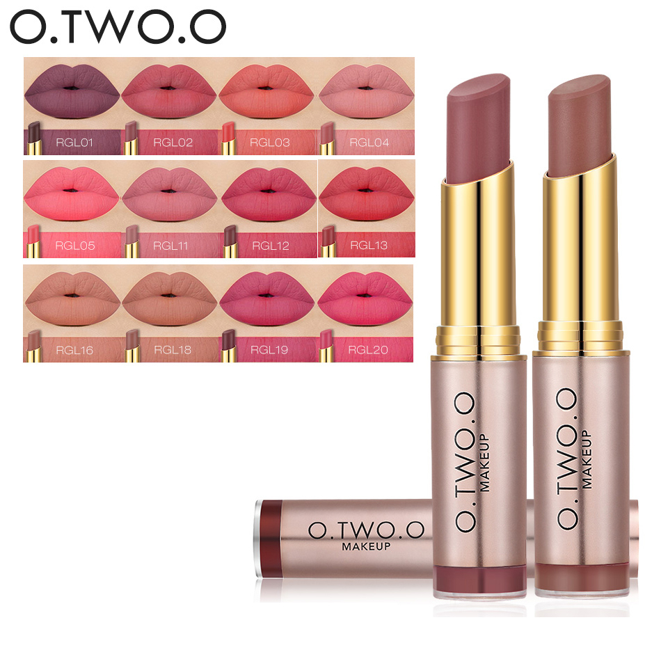 2017 New Matte Lip Stick Color Cosmetics Waterproof Pigment Brown Nude o . two . o Brand Long Lasting Lipstick Matte Makeup