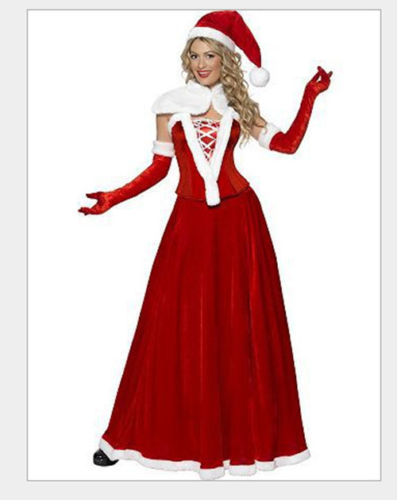 Adult Ladies V collar Christmas Fancy Dress Red Santa Claus Women Costume Xmas Outfit Long skirt And Hat