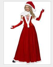 c660fecc52 Adulto señoras V collar Navidad disfraz rojo las mujeres de Santa Claus  traje de Navidad traje falda y sombrero