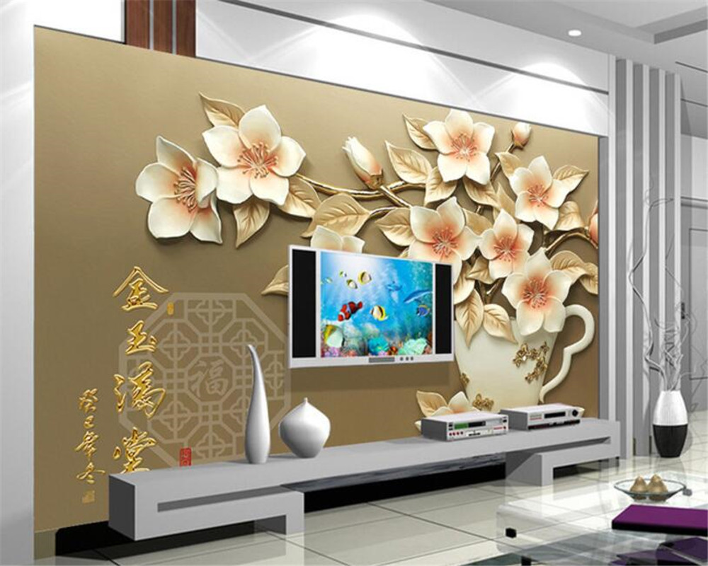 Beibehang Wallpaper For Walls 3 D Embossed Magnolia Gold Full House  Background 3d Wallpaper Murals Wall Paper Home Decor