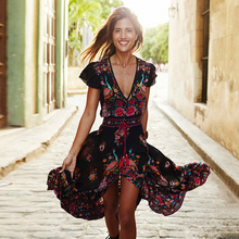 Summer Boho Dress Women Ethnic Sexy Print Retro Vintage Robe Vestidos Mujer Tassel Beach Bohemian Hippie Dresses