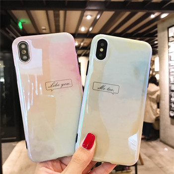 Simple Letter Phone Case for IPhone 7 Cases for Iphone 6 6s 8 Plus X Ultra Slim Double Color Gradient Soft TPU Cases Hoesje Capa iPhone