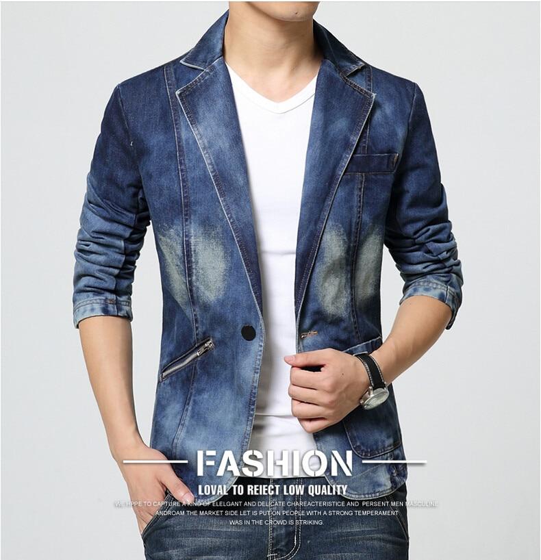 Neue Ankunft Mode Denim Blazer Männer Klassische Blau Solide Zipper ... 20932a0182