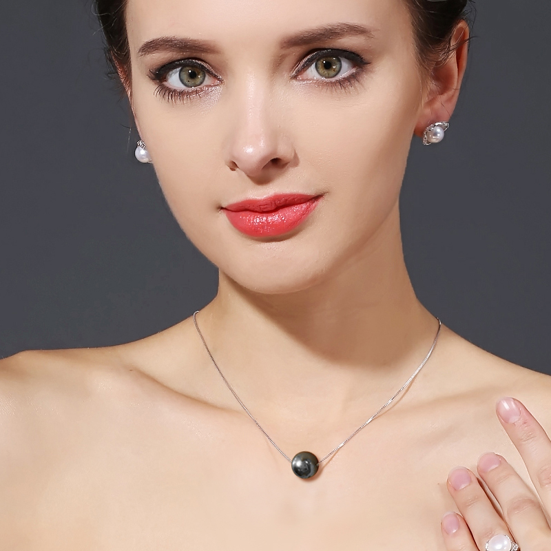 FENASY 10-11mm pearl round Black Tahitian pearl pendant necklaces, pearl Jewelry bohemian pendants send s925 silver necklaces