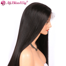 AliBlissWig Glueless Full Lace Wigs With Baby Hair Natural Color Brazilian Remy Human Hair Wigs Yaki Straight 130 Density