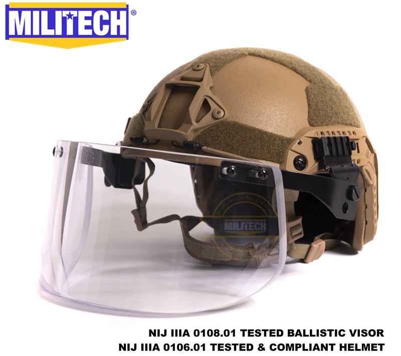 MILITECH CB Coyote coupe Maritime de luxe NIJ IIIA casque pare-balles rapide et visière ensemble affaire casque balistique masque pare-balles