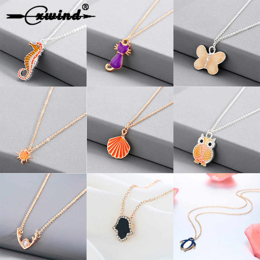 Cxwind Necklace For Children Kids Enamel Cartoon Cat Penguin Jewelry Accessories Women Animal Necklace Pendant Seashell Party