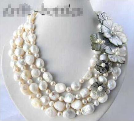 4 Srands 18 ''12mm café noir blanc Baroque rond collier de perles d'eau douce coquille