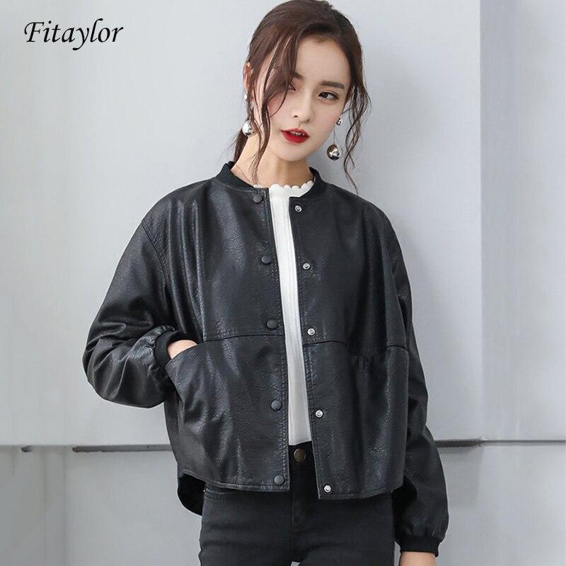 Fitaylor 2019 Women Faux Soft   Leather   Motorcycle Jacket Short Pu   Leather   Baseball Uniform Coat Single Breasted Black Overcoat