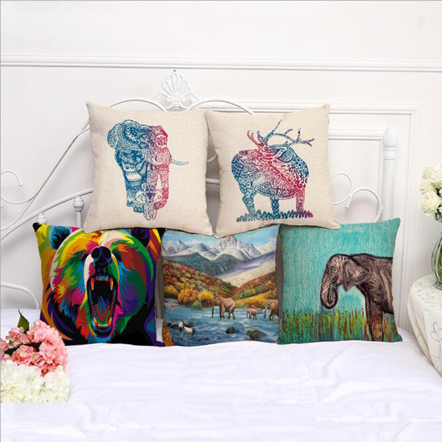 Square 18\'\' Bear Elephant Pattern Cushion Cover Colorful Animal ...