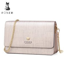 FOXER Brand Female Stylish Small Flap Shoulder Bag Women Bag Split Leather Chic Messenger Bags & Crossbody Bags Fashion Design foxer brand 2018 women s leather bag fashion crossbody bags for women chain bags girl shoulder bag gift for valentine s day