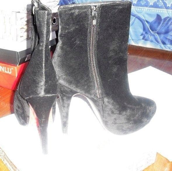 дамы мода искусственная кожа печать туфли на блок средний-икры ботинки для женщин / девушек мода черный ботинки размер : 35 - 39 к300