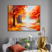 Watercolor Autumn Maple Forest Wall Pictures Poster and Print Canvas Painting Calligraphy Decorative for Living Room Home Decor