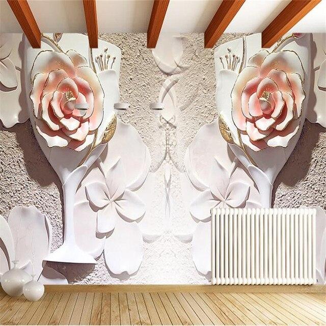 Benutzerdefinierte 3d Fototapete Blühende Tapeten Modernen Minimalistischen  Sofa Stereo Raum Wand Tapete Für Wohnzimmer Malerei