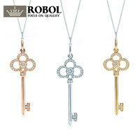 ROBOBL Tiff 100% 925 Sterling Silver Genuine Zircon Heart shaped Keyring Pendant Necklace 18K Yellow Gold, Golden Rose, Gold KEY