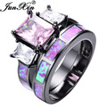 JUNXIN Lovely Pink Fire Opal Ring Sets For Women Men Black Gold Filled Wedding Party Engagement Promise Ring Valentine's Day