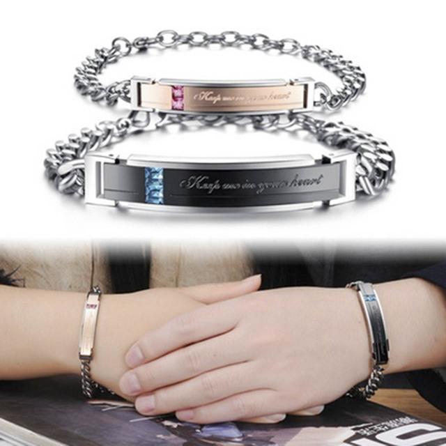 """1 Par Joyería de Moda Amante Promise Pulsera """"guárdame en tu corazón"""" regalo del día de san valentín pulseras de acero titanium de los hombres y mujeres"""