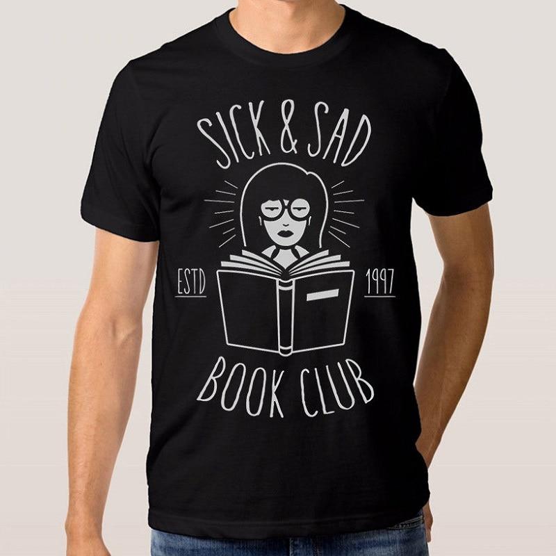 Популярные Стиль футболка Премиум Средства ухода за кожей Шеи Дарья больной грустный книжный клуб футболки с коротким рукавом для Для мужч... ...
