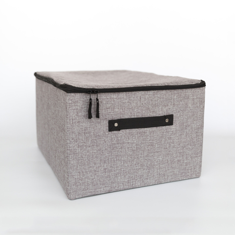 Foldable Non Woven Cloth Storage Box with Handle and Lid and Large Capacity for Home Wardrobe