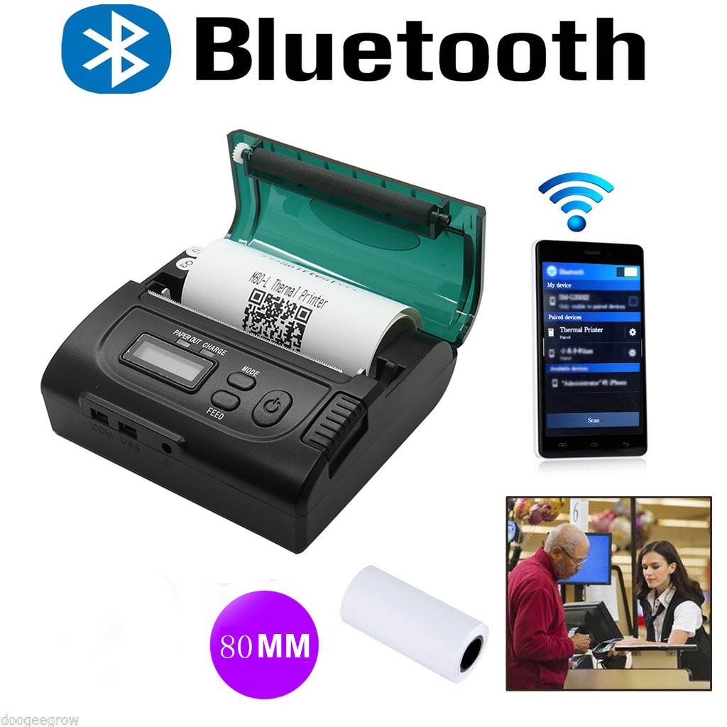 Newest 80mm Bluetooth Wireless Mini Pocket Thermal Receipt Printer for Android IOS