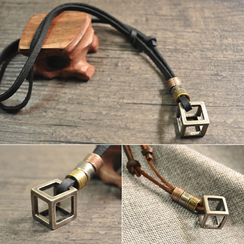 Men's Women's Punk Retro Style Leather Rope Hollow Cube Pendant Choker Necklace