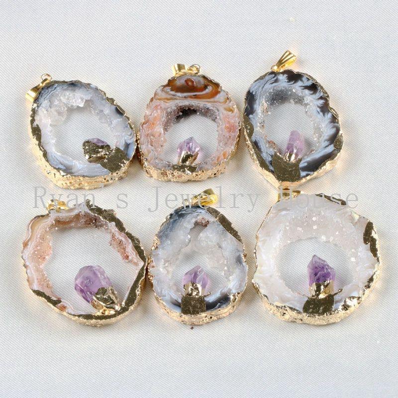 BOROSA 5 kusů zlaté barvy přírodní otevřené plátové agáty Geode Druzy s ametysty Crystal Druzy přívěsky