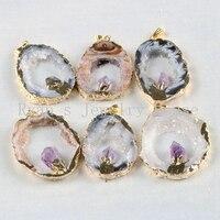 Borosa золото Цвет натуральный открытым Агаты Жеода с аметистами кристалл Druzy Подвески