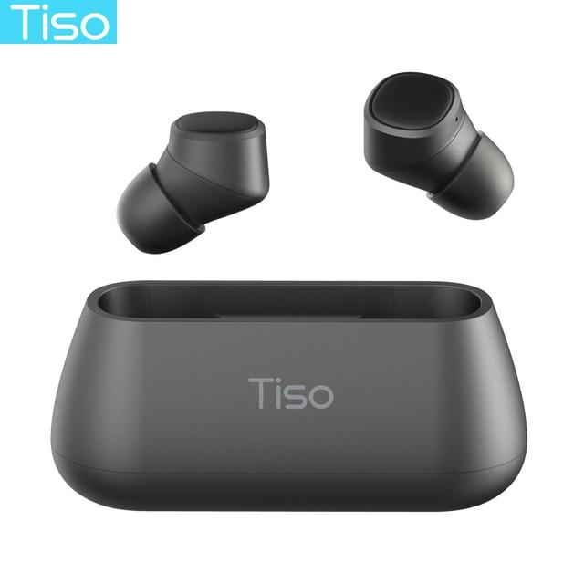 Tiso i4 TWS headphones 5.0 Bluetooth wireless earphones magnetic design built-in dual mic and 500mAh power bank charging box 1