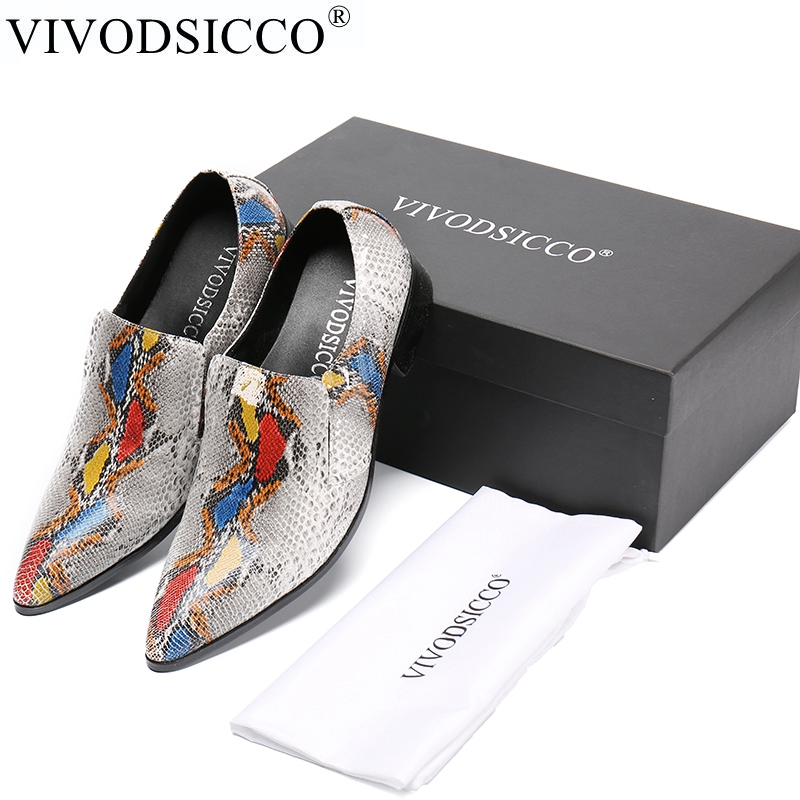 VIVODSICCO New Snake Style Genuine Leather Shoes Men Flats Pointed Toe Men Oxfords Shoes Casual Men Dress Shoes Wedding shoe t95r pro android 6 0 smart tv box octa core amlogic s912 dual band wifi bt4 0 uhd 4k h 265 3d player ram 2g 3gb rom 8g 16g 32gb