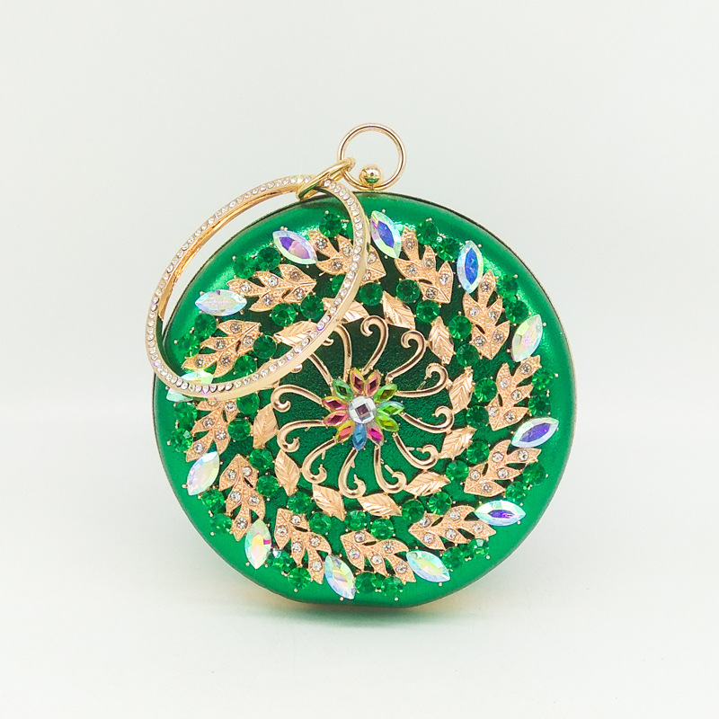 Vintage Round Evening Clutch with Bling Rhinestones, Beautiful and Elegant Handbags with Flower Design leisure women s sandals with rhinestones and weaving design