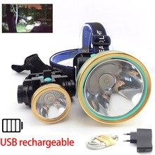 Мощный T6 светодиодный налобный фонарь, фонарь, USB Перезаряжаемый светильник, налобный светильник для рыбалки, встроенный аккумулятор, вспышка, светильник