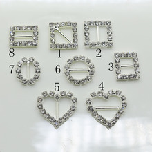 Hot sale10pc Stunning clear rhinestone buckle metal brass buckle/Shiny Ribbon Slider wedding gift packing bag shoes accessory