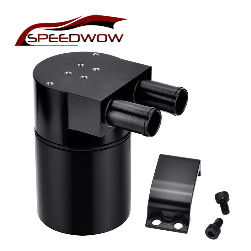 SPEEDWOW Universal Aluminum Alloy Reservior <font><b>Oil</b></font> <font><b>Catch</b></font> <font><b>Can</b></font> Tank For <font><b>BMW</b></font> N54 335 Black image