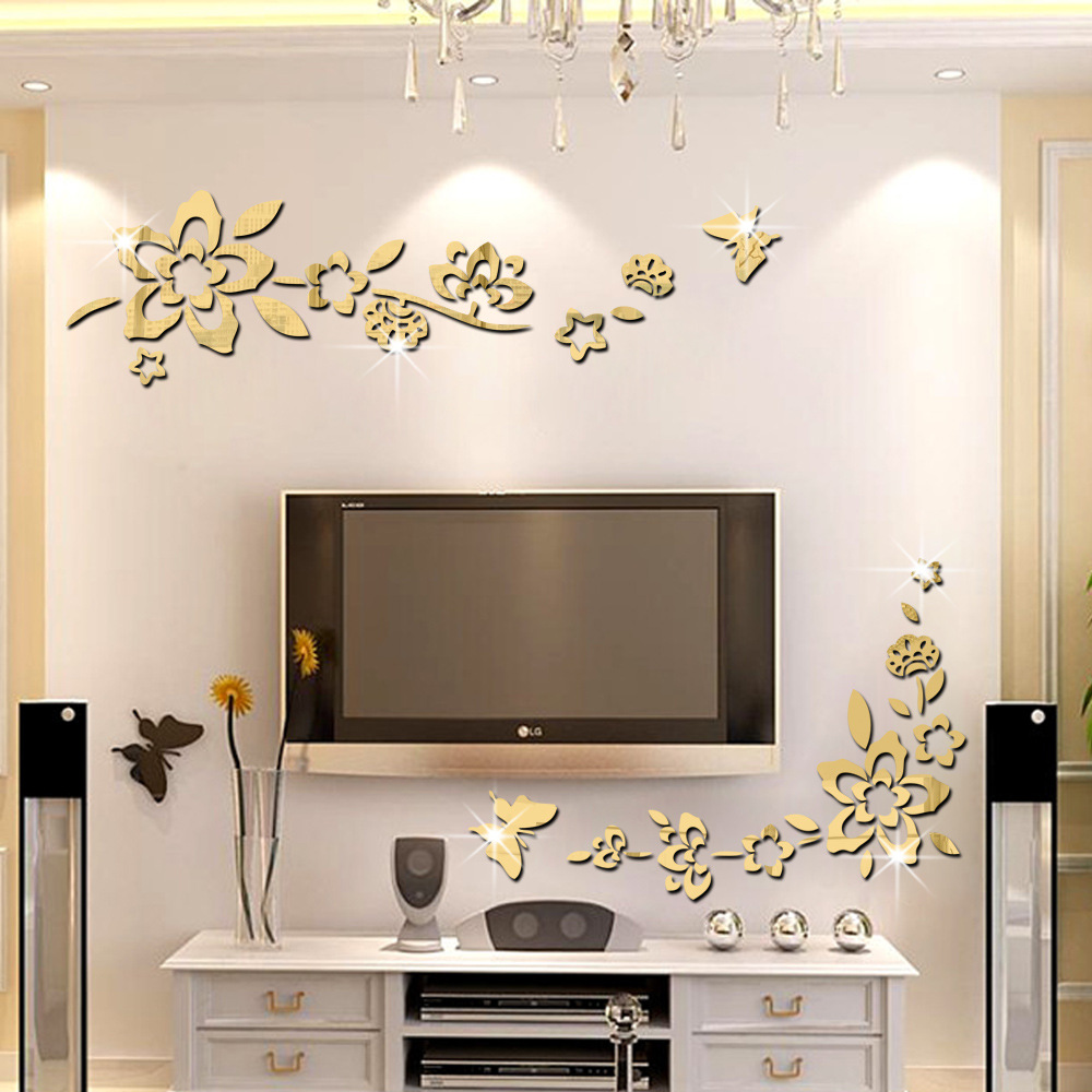 Three dimensional decoration diagonal flower mirror wall for Stickers 3d pared