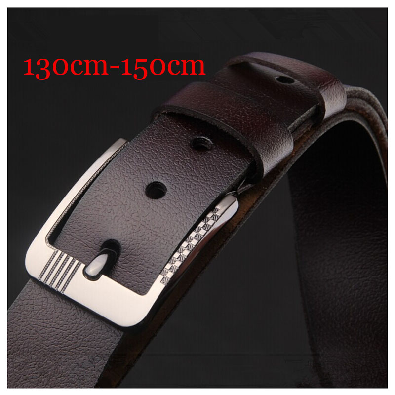 Large Size 130cm 150cm Cow Genuine Leather Luxury Strap Male   Belts   for Men New Fashion Classice Vintage Pin Buckle Men   Belt