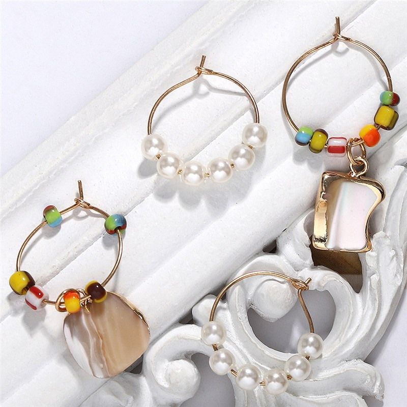 Vintage Gold Alloy Pearl Dangle Earrings Women Round Circle Stone Beads Summer Jewelry