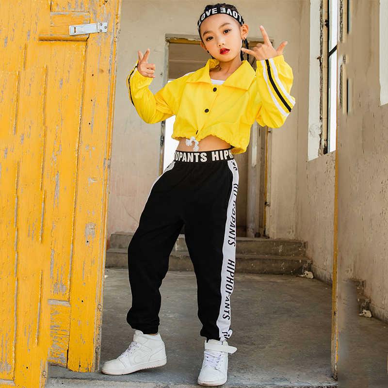 Kids Jazz Dance Costumes Girls Hip Hop Clothing Yellow Jacket Black Pants  Stage Set Street Dancer Wear Children Dancewear DN2597