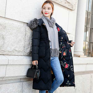 Image 4 - Both Two Sides Can Be Wore 2019 Women Winter Jacket New Arrival With Fur Hooded Long Coat Cotton Padded Warm Parka Womens Parkas
