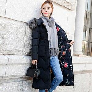 Image 4 - Chaqueta de invierno para mujer, abrigo largo con capucha de piel, Parka cálida acolchada de algodón, ambos lados, 2019