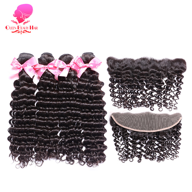 QUEEN BEAUTY 2/3/4 Remy Human Hair Extensions Brazilian Deep Wave Bundles with Closure Lace Frontal 13x4 Ear to Ear Frontal Hair-in 3/4 Bundles with Closure from Hair Extensions & Wigs    1