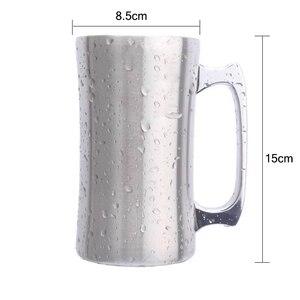 Image 5 - Mug isolant en acier inoxydable avec couvercle, grand Mug 20oz, chope isotherme, à Double paroi, gobelet avec poignée, chope à bière