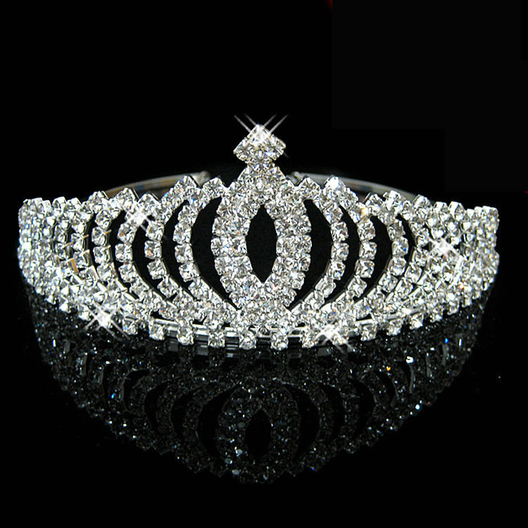 Newest Design Romatic Crown Tiara Peach Heart Elegant Rhinestone Crystal bridal hair Jewelry Wedding Bride Party