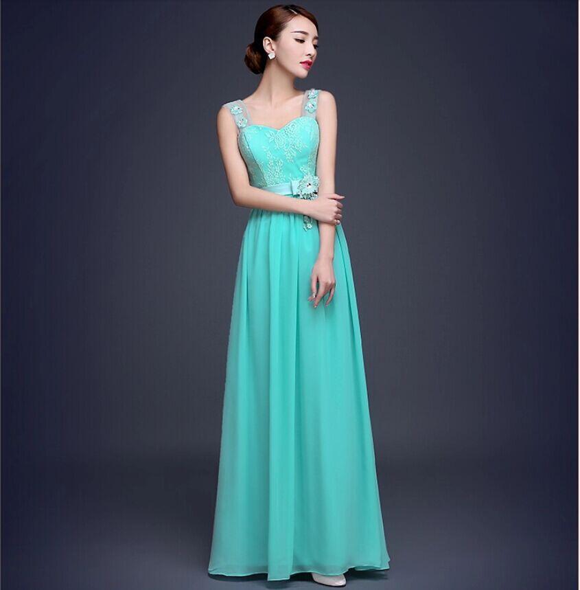 Moderno Vestidos De Dama De Color Turquesa Azul Modelo - Vestido de ...