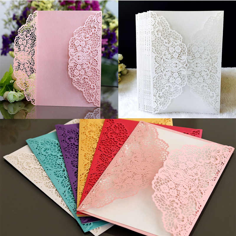 100pcs European Laser Cut Wedding Invitations Card Elegant Lace Business Greeting Cards Birthday Wedding Party Favor Decoration