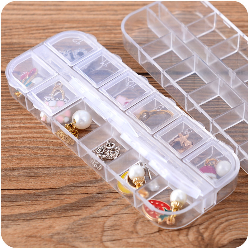 Travel Bins 1PC Earrings Jewelry Box Plastic Mini Ring Case Portable Organizer Adjustable Transparent Jewelry Storage