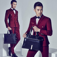 Formal dress suit men male slim wedding suits for men double breasted mens suits wine red costume ternos masculino fashion 2XL