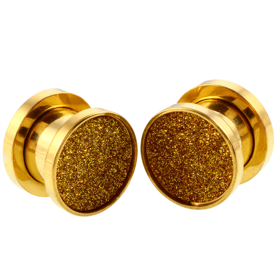 2pcs Steel Ear Plugs And Tunnels Rose Gold Bling Expander Piercing Gauges Stretchers Body Jewelry Piercings In From