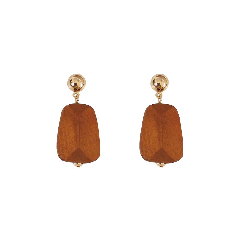 New Fashion Accessories Exaggerated Geometric Wood Irregular Plane Earrings Designer Jewelery Design Gifts for Ladies