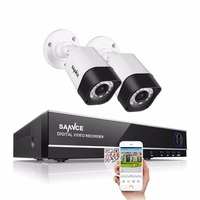 SANNCE 4CH CCTV System 4CH 720P DVR 2PCS 1 0MP IR Weatherproof Outdoor CCTV Camera 1280TVL
